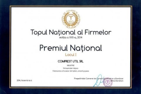 Locul 1 in Topul National al Firmelor 2014, categoria INDUSTRIE